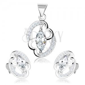 Szett - 925 ezüst, fülbevaló és medál, elipszis körvonal, összekapcsolt szívek