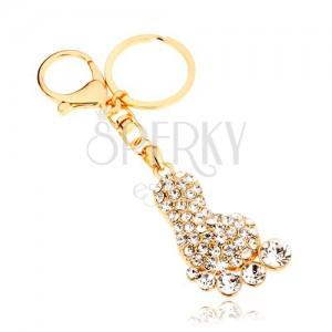 Kulcstartó arany színben, csillogó talp, átlátszó cirkóniák