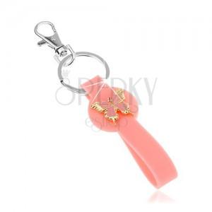 Kulcstartó, rózsaszín medál szilikonból, pillangó arany színben, rózsaszín fénymáz