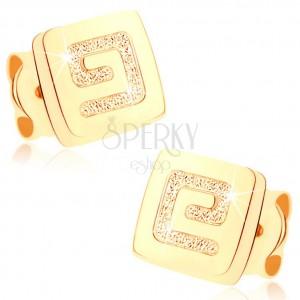 375 arany fülbevaló - kis fényes négyzet, szemcsés görög kulcs