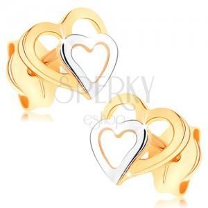 Fülbevaló 9K aranyból - kétszínű szívkörvonal, stekkeres, fényes felület