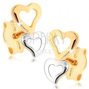 375 arany fülbevaló - két szív alakú kontúr kétszínű kivitelezésben