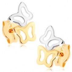 Fülbevaló 9K sárga aranyból - kétszínű pillangó körvonal, magas fény
