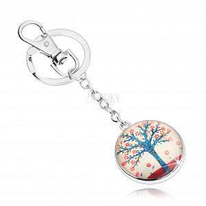 Cabochon kulcstartó, kék életfa, piros virágok, fehér háttér