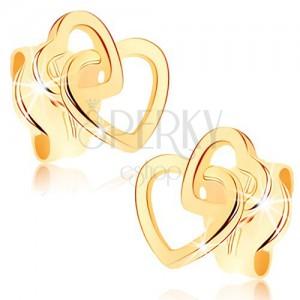 Fülbevaló 9K sárga aranyból - összekapcsolt szimmetrikus szív körvonalak