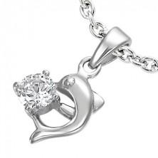 Nemesacél delfin medál, cirkónia kővel