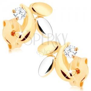 375 arany fülbevaló - három levélke két színben, csillogó átlátszó cirkónia