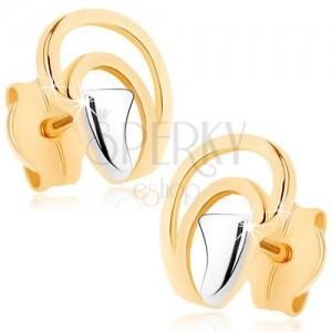 Fülbevaló 9K aranyból - egyenetlen félholdak könnycsepp alakban, kétszínű