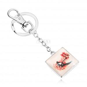 Kulcstartó kaboson stílusban, négyzet, kidomborodó üveg, madár a fán
