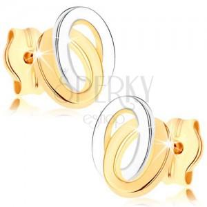 Bedugós fülbevaló 9K sárga aranyból - kétszínű összekapcsolt elipszis