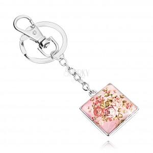 Kaboson kulcstartó, négyzet kidomborodó üveggel, rózsa motívum zöld levelekkel