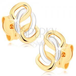 Kétszínű fülbevaló 9K aranyból - fényes összekapcsolt oválisok, stekker