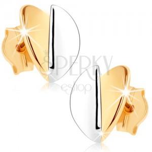 Fülbevaló 9K aranyból - kidomborodó levelek, arany és ezüst árnyalat, ródiumozott