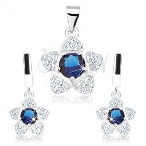 Szett, 925 ezüst, medál és fülbevaló, csillogó virág, kék cirkónia