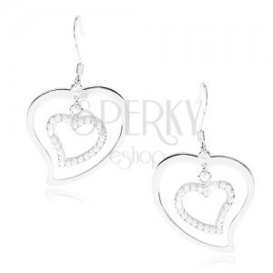 925 ezüst fülbevaló, aszimmetrikus szív kontúr, arikai horog