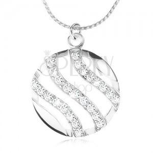 925 ezüst nyakék, lánc és kerek medál, hullám cirkóniákkal kirakva