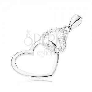 925 ezüst medál, két kontúr egyenetlen szívből, átlátszó cirkóniák