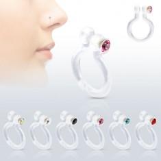 Fake piercing orrba Bioflexből, csillogó cirkónia, különböző színek