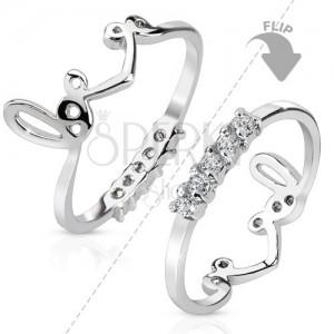 """Ródiumozott gyűrű ezüst színben, kétoldalas, átlátszó cirkóniákból álló vonal, """"love"""" felirat"""