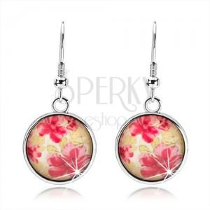Kerek fülbevaló kaboson stílusban, kidomborodó üveg, piros virágok, zöld levelek