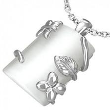 Félhenger alakú medál - fehér kő, virág és levél motívumok