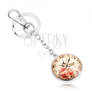 Kulcstartó - cabochon, óra, Eiffel torony, pillangó, piros rózsa