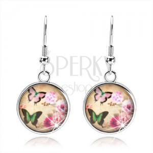 Kör fülbevaló cabochon stílusban, két színes pillangó, rózsaszín virágok