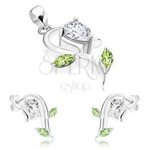 925 ezüst szett, medál és fülbevaló, átlátszó és zöld cirkóniák