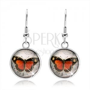 Cabochon fülbevaló, kidomborodó átlátszó üveggel, narancs-fekete pillangó
