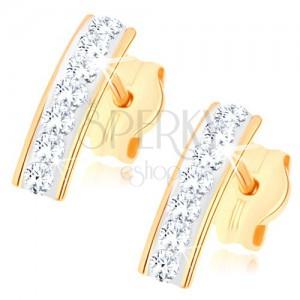 Bedugós fülbevaló 9K sárga aranyból, csillogó sáv Swarovski kristályokkal