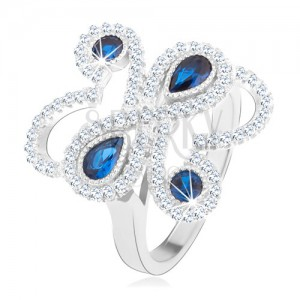 Gyűrű 925 ezüstből, csillogó hullámos vonal, kék cirkóniák