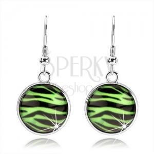 Kaboson fülbevaló kidomborodó üveggel, zebra minta zöld-fekete kombinációban