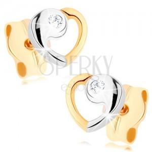 Fülbevaló 9K aranyból - szív kontúr kétszínű kivitelezésben, cirkónia