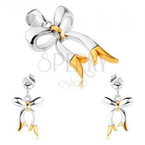 925 ezüst szett - medál és fülbevaló, fényes kétszínű masni