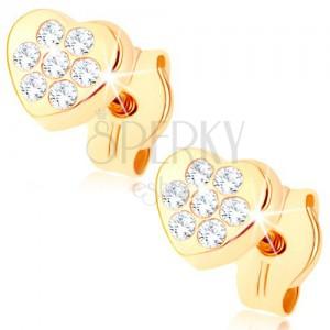 375 arany fülbevaló - kicsi csillogó szívecske, apró átlátszó cirkóniák