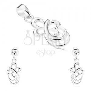 925 ezüst szett - fülbevaló, medál, pillangó körvonal, lekerekített vonalak