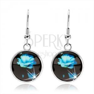 Fülbevaló kaboson stílusban, kör fénymázzal, kék kinyílt rózsa