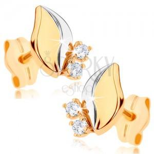 Kétszínű 375 arany fülbevaló - fényes levél, két átlátszó cirkónia