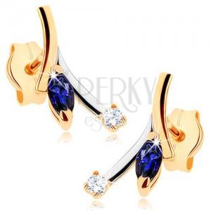 375 arany fülbevaló - kék cirkóniás zafír, átlátszó cirkónia, kétszínű ág