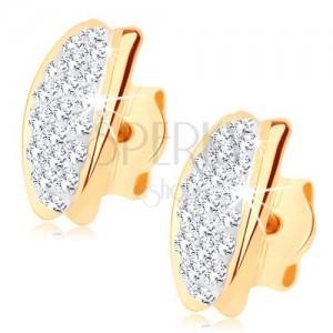 Bedugós fülbevaló 9K sárga aranyból - félhold Swarovski kristályokkal kirakva