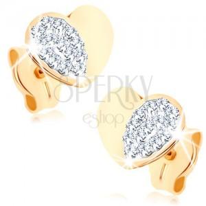 Fülbevaló 9K sárga aranyból - fényes egyenletes szív csillogó féllel