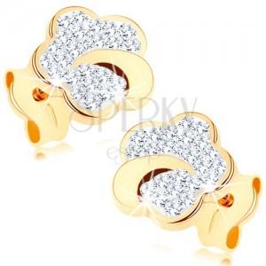 Bedugós fülbevaló 375 sárga aranyból - virág Swarovski kristályokkal kirakva