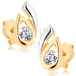 Fülbevaló 9K aranyból - kettős, kétszínű könnycsepp, átlátszó cirkónia
