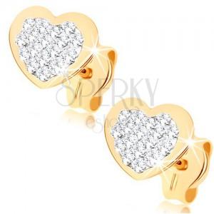 Bedugós fülbevaló 9K sárga aranyból - szívecske Swarovski kristályokkal kirakva
