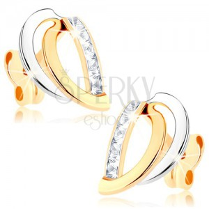 375 arany fülbevaló - kétszínű félholdak, függőleges cirkóniás vonal