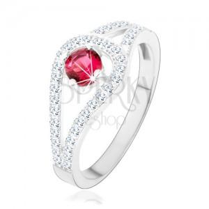 925 ezüst gyűrű, kettős csillogó szárak, rózsaszín cirkónia