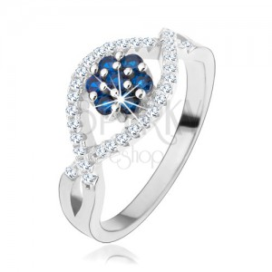Gyűrű 925 ezüstből, hullámos cirkóniás vonal, csillogó virág kék cirkóniákból