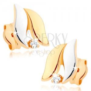 Kétszínű fülbevaló 9K aranyból - szélesebb hullámok, magas fény, átlátszó cirkónia
