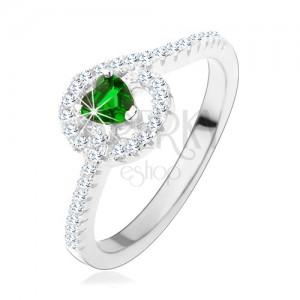 925 ezüst eljegyzési gyűrű, zöld cirkóniás szívecske, csillogó vonalak
