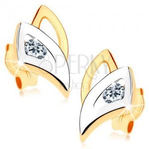 Bedugós fülbevaló 9K aranyból - kétszínű háromszög körvonal, átlátszó cirkóniák